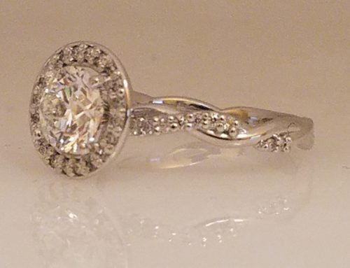 Twist Band Halo Engagement Ring